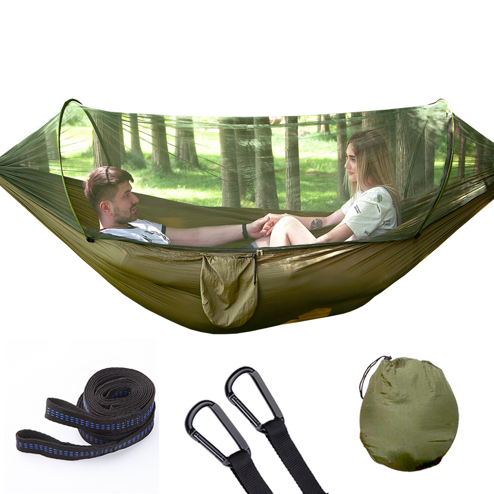 Single&Double Camping Hammock Nylon Parachute Heavy Duty Outdoor Hammock Fully Automatic Quick Opening Hammock With Mosquito Net