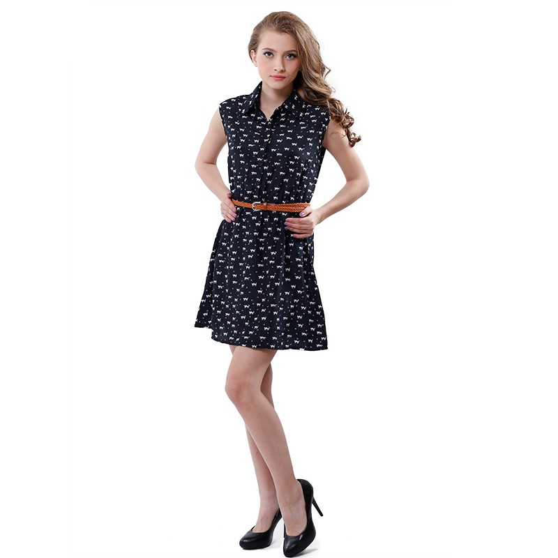 Softu Hot Sale Women's Fashion Summer Casual Shirts Dress Sleeveless Tank Knee Length A Line Dress Cat Printed Dresses With Belt 3