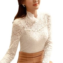 2016 New Fashion Ladies White Blusas Women's Long Sleeve Chiffon Lace Crochet Tops Blouses Women Clothing Feminine Blouse