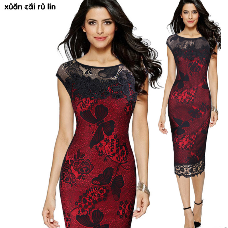 Women 2017 Summer Plus Size 3xl <font><b>4xl</b></font> 5xl <font><b>sexy</b></font> Bodycon Lace Embroidery Evening Party Black Red Pencil Office vestido renda <font><b>dresses</b></font> image
