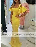 New 2016 Yellow Long Elegant Evening Dress Scalloped Neckline Trumpet Sleeves Satin Mermaid Gown Formal Evening
