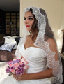 White or Ivory 1 Layer Tulle Soft Lace Edge Fingertip Wedding Bridal Veil with Metal Comb