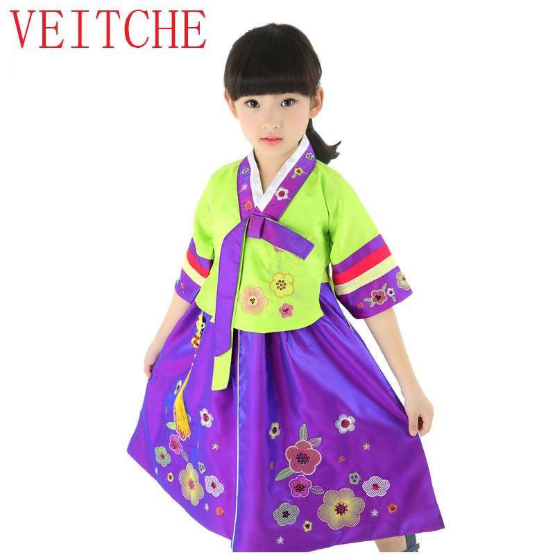 Spring kids dance dress the new north Korea minority costumes children's clothing stage performance girls dancing dresses uniel utv 95w