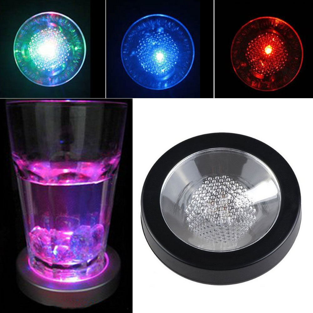 2017 hot color changing led coaster flashing light drink bottle cup coaster decoration for christmas halloween new year - Halloween Light Bulbs
