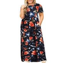 Casual Vintage Dress Women Summer Floral Print Large Size Short Sleeve Elegant Long Pocket Vestido Plus 3XL-9XL