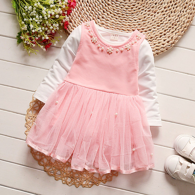 IAiRAY младенческой милый розовый dress set девушки весной одежду 1 год девочка день рождения dress с жемчугом воротник футболка с длинным рукавом