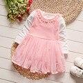 Iairay infant cute pink dress set niñas ropa de primavera 1 año niña cumpleaños dress con perla de manga larga de cuello camiseta