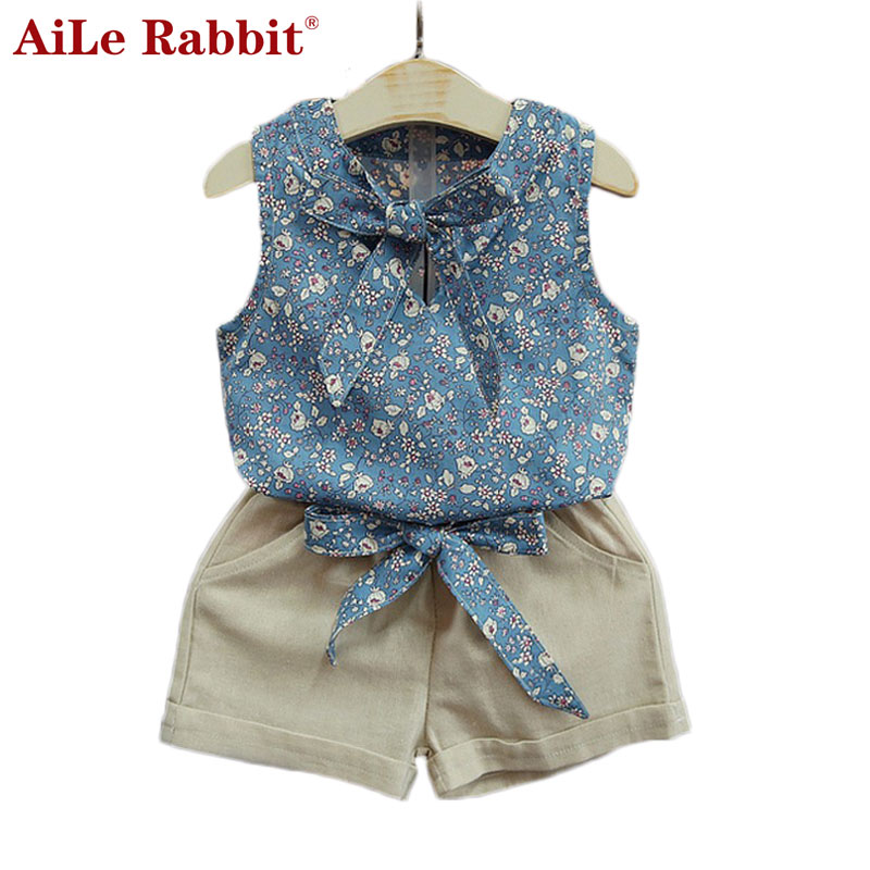 AiLe Rabbit Retail Fashion Cartoon Girls cartoon Summer Clothes Baby Suits Kids T Shirt +pants Children Clothing Set fashion minnie t shirt long tutu skirt 2 pcs baby girls clothing children cartoon suits new summer clothes set free shipping