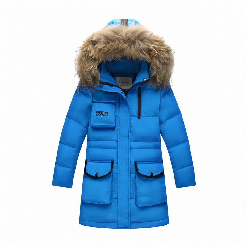 цена на Boys Thick Down Jacket 2018 New Winter Children Long Sections Warm Coat Clothing Boys Real Raccoon Fur Hooded Down Outerwear