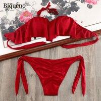 2018 Pad Support Swimsuit Bikini Set Scrunch Butt Bandage Swimwear Beach Women Plus Size Underwire Bikinis