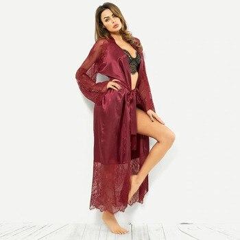 Robe Pajamas Women Summer Sexy Silk Lace Kimono 1