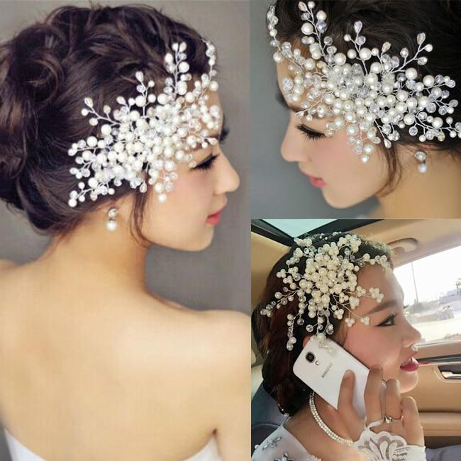 Whitney Wang Luxury Rhinestone Faux Pearl Headband Tiara Hair Chain Headpiece Wedding Bridal Hairwear Bridal Hair Accessories