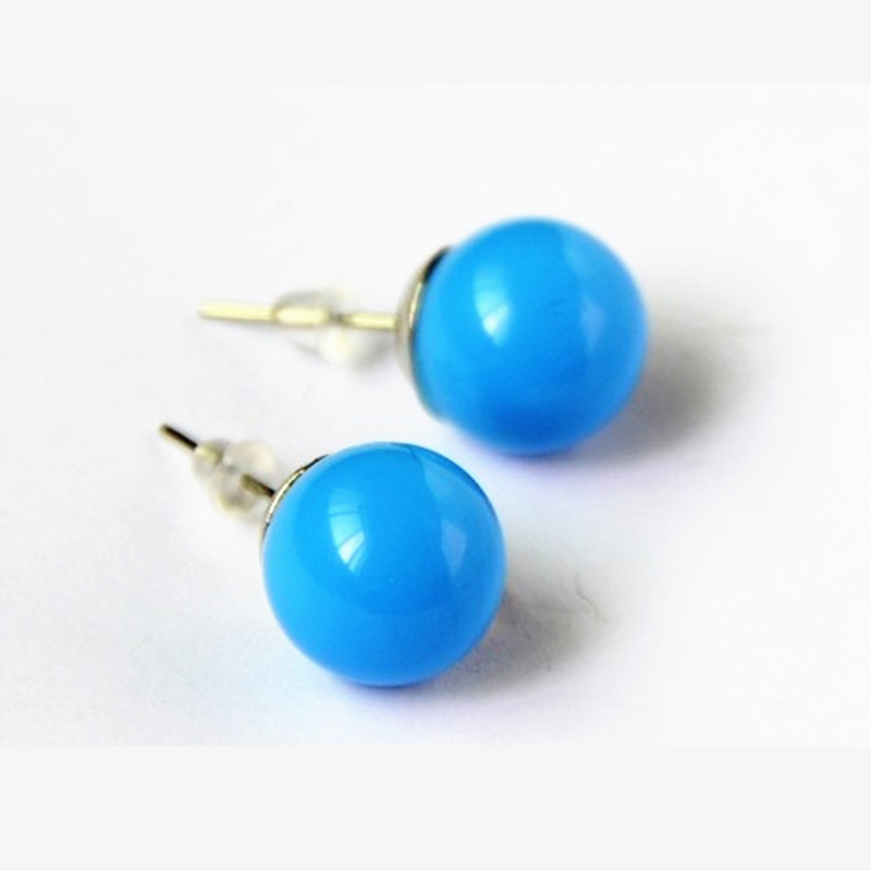 ES002 New style FASHION!!! Lovely 15 Colors Candy Colored Ball Earring 1 pairs!