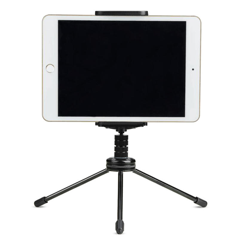 Portable Aluminum Tablet Holder Rotating Tablet Stand Phone Cradle Bracket Camera Tripod for Photo Video for iPad iPhone HU01