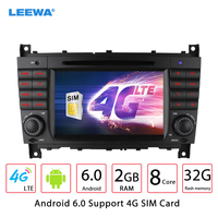 LEEWA 7 Android 6.0 (64bit) DDR3 2G/32G/4G LTE Octa Core Car DVD GPS Radio Head Unit For Mercedes Benz C Class W203 / CLK W209
