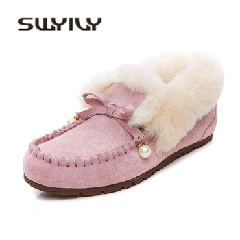 SWYIVY Woman Winter Warm Fur Flat Snow Boots 2018 Bow Genuine Leather Female Slip On Casual Shoes Comfortable Wool Fur Snowboots