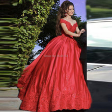 Ball Gown Red Satin Wedding Dresses With Lace Appliques 2019 Off Shoulder Beading Bridal Wedding Dress Luxury Vestido De Noiva(China)