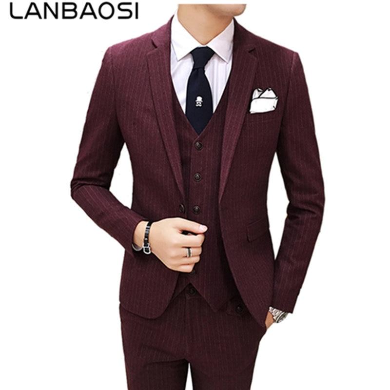 LANBAOSI One Button Tuxedo Suits 3 Piece Set Men's Slim Fit Dress Suit Terno Masculino Business Plus Size XXXL Men Blazer Suit