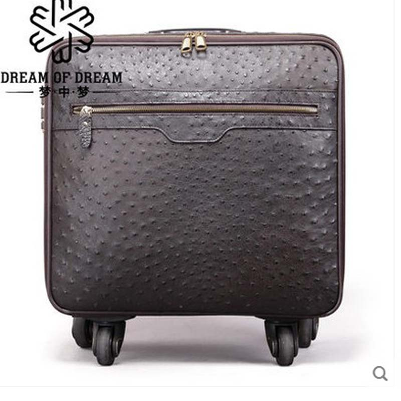 2018 mengzhongmeng Ostrich leather Pull rod box 16-inch suitcase full wheel hardbox password boarding suitcase men luggage