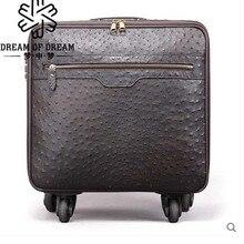 коробка mengzhongmeng кожи страуса Тяга штанги 16-дюймовый чемодан колесного пароль чемодан багажа интернат hardbox мужчин