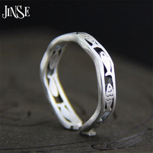 купить JINSE 100% 925 Silver Fish Ring 100% Real S925 Sterling Solid Thai Silver Rings for Women Men Jewelry 4mm дешево