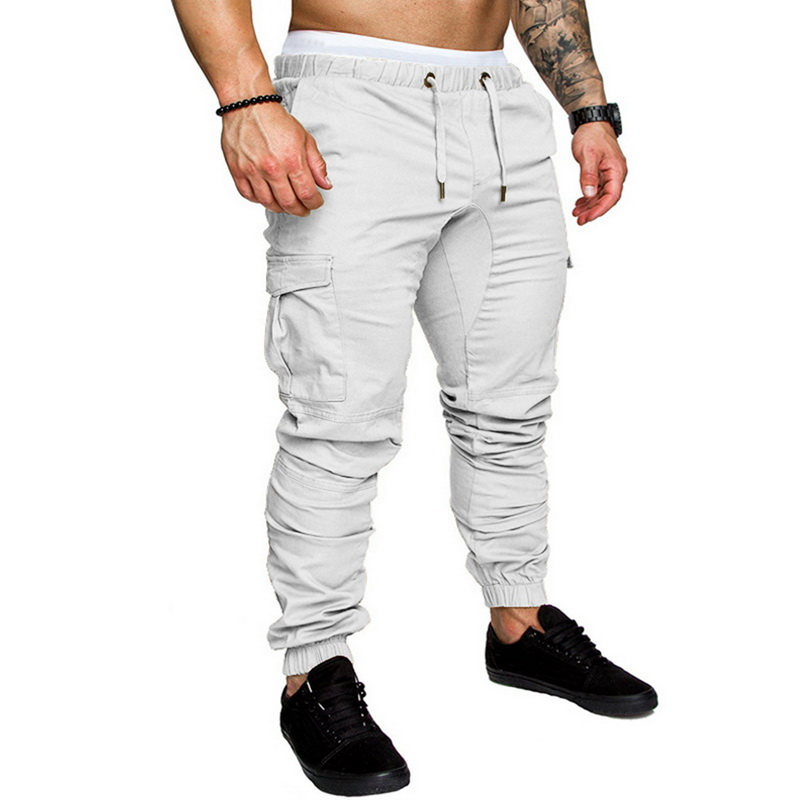 10 цветов мужские Новые повседневные брюки карго размера плюс спортивные брюки для бега черные брюки для фитнеса одежда для спортзала с карманами спортивные штаны для отдыха - Цвет: white pants1