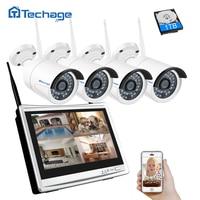 Techage 4CH 1080P 12 LCD Monitor Wireless NVR Kit Wifi CCTV System 960P 1.3MP Outdoor Camera P2P Video Surveillance System Set