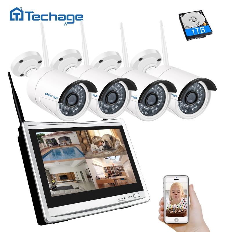 Techage 4CH 1080 p 12 pollice LCD NVR Sistema di Sicurezza CCTV Wireless 960 p 1.3MP Esterna del IP di Wifi Della Macchina Fotografica P2P video di Sorveglianza Kit