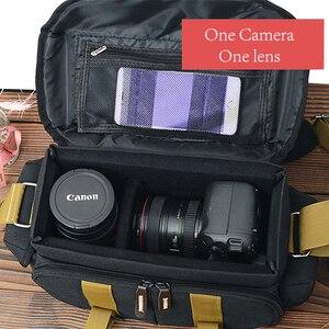 Image 2 - Camera Bag Case Canvas DSLR SLR Messenger Shoulder Bag Photo Lens Shockproof Waterproof for Canon EOS Nikon Sony a6000 Panasonic