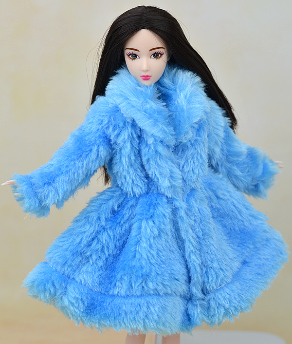 1 Laptop Sky Blue Plush Lint Coat Winter Put on Costume Snowsuit Clothes Outfit Garments Doll Equipment For 1/6 Toy Barbie Doll