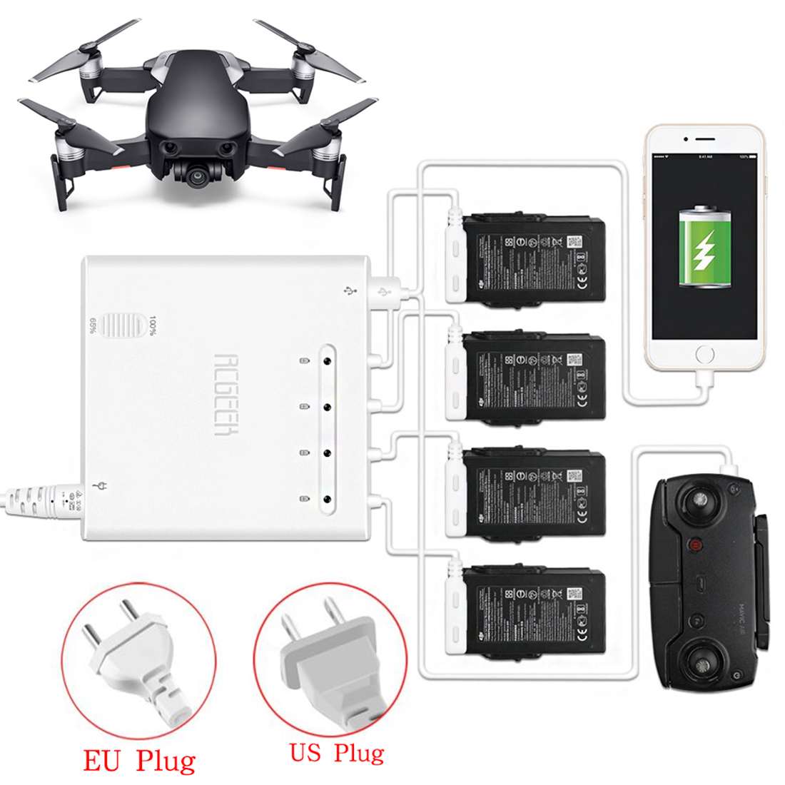 6 in 1 Quick Charge Intelligent Charger with 2 Charging Modes for DJI MAVIC AIR - US Plug6 in 1 Quick Charge Intelligent Charger with 2 Charging Modes for DJI MAVIC AIR - US Plug
