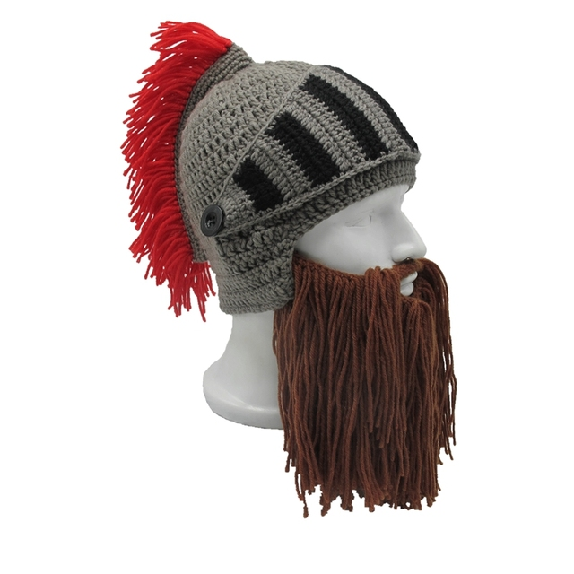 79b67c944e0 Tassel Cosplay Roman Knight Knit Helmet Men s Caps Original Barbarian  Handmade Winter Warm Beard Hats Funny