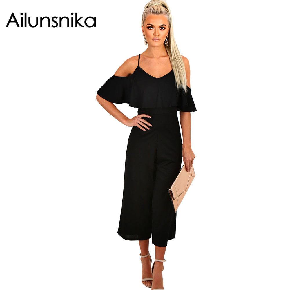 Ailunsnika2018 Summer Women Sexy Fashion Spaghetti Strap Calf-Length Romper Black Ruffle Frill Culotte Wide Leg Jumpsuit DL64254