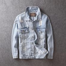 Korean Style Fashion Men Jacket Retro Light Blue Destroyed Ripped Coats Paint Designer Streetwear Hip Hop Denim Jackets