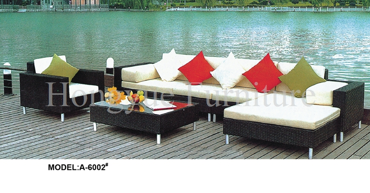 Outdoor corner rattan sofa furniture set with cushion sale