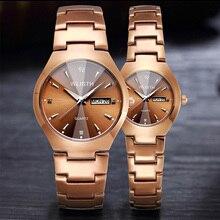 wlistth, Топ бренд, мужские часы, Вольфрамовая сталь, для влюбленных, роза, для женщин, пара, китайский-английский календарь, кварцевые часы, водонепроницаемые часы