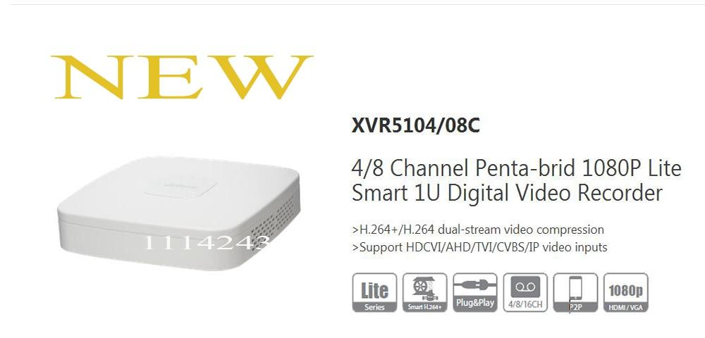 ФОТО DAHUA NEW Product 4/8 Channel Penta-brid 1080P Lite Smart 1U Digital Video Recorder Without Logo XVR5104C/XVR5108C