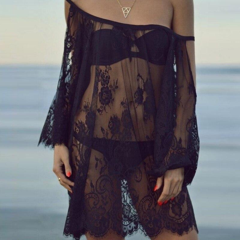 2017 moda verano mujer correa beach dress sexy escarpado floral del cordón del b