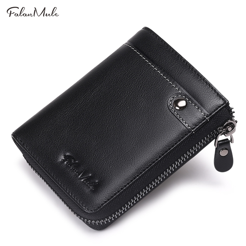 FALAN MULE 2018 New Small Coin Purse Short Men Wallets Genuine Leather Men Purse Bilfold Zipper Purse Fashion Men Leather Wallet 2017 new wallet small coin purse short men wallets genuine leather men purse wallet brand purse vintage men leather wallet