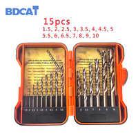 BDCAT 15 Pz/set 1.5-10mm Parco Shank HSS-Co 5% M35 Cobalto Torsione Trapano Trapano A Spirale Bit per la lavorazione dei metalli e la lavorazione del legno