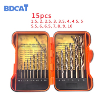 BDCAT 15Pcs Set 1 5 10mm Park Shank HSS Co 5 M35 Cobalt Twist Drill Spiral