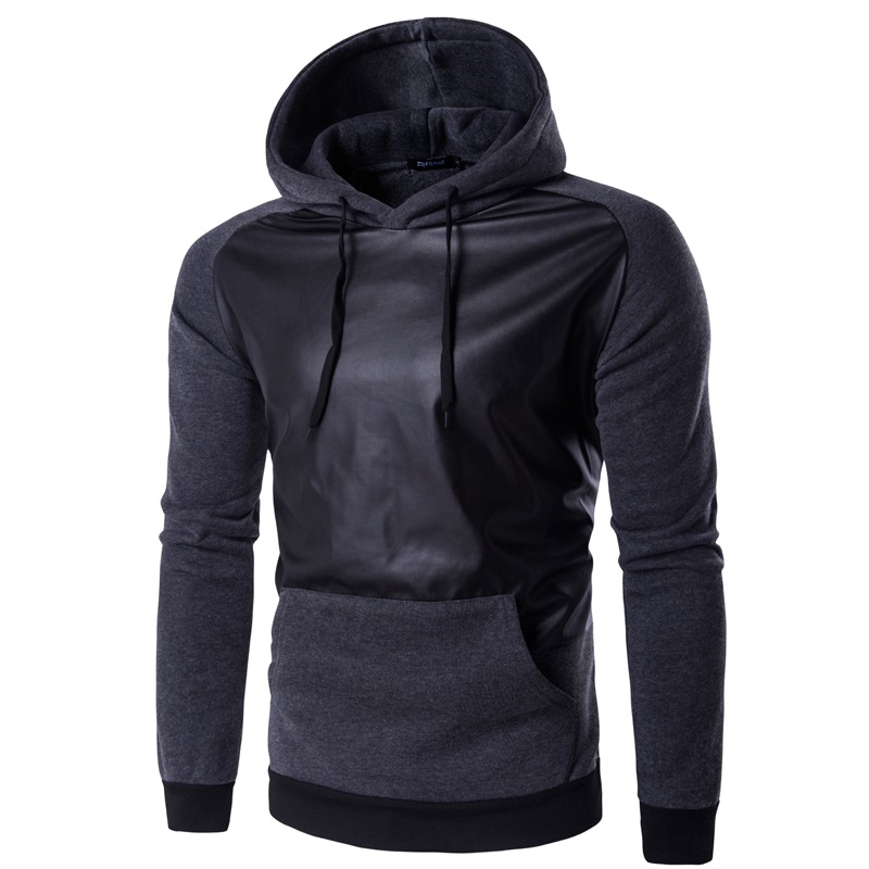 2016 New Mens Hoodies Patchwork Leather Fashion Hoodies Men Jacket Coat Brand Sweatshirt Slim Pullover Tracksuits Masculino