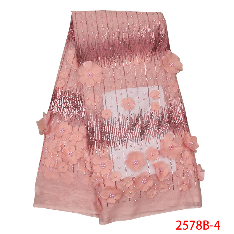 African Lace Fabric Best Selling 3d Flower Lace Fabric High Quality Tulle Mesh With Applique Sequins Beads KS2578B-4