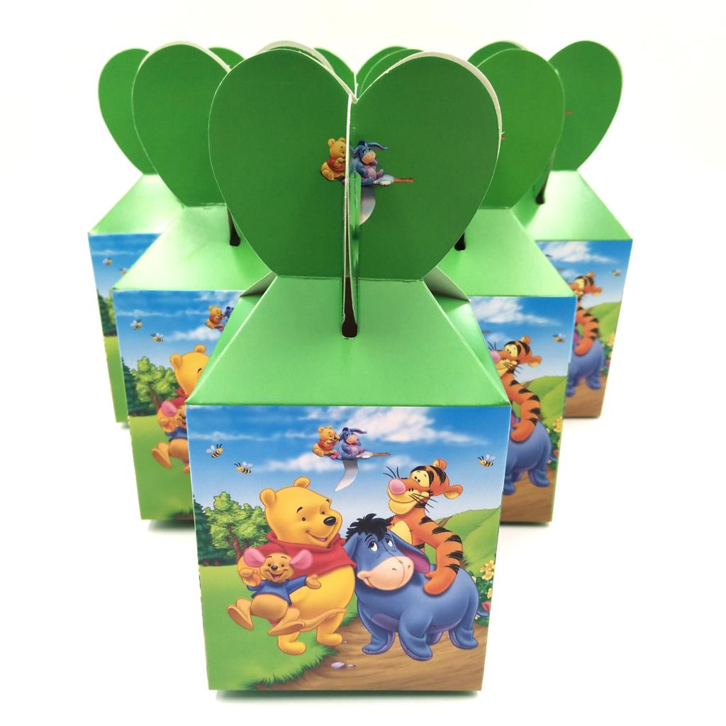 6Pcs/lot  Cartoon Winnie Theme Party Birthday Gift Baby Shower Candy Box Paper Gift Box Wedding Party Supplies