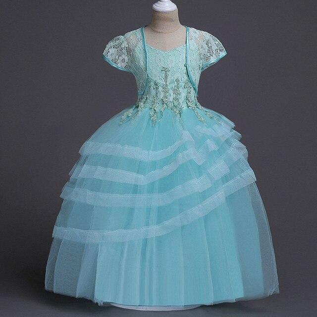 Sling Dress +Shawl 2pcs Kids Clothes Lace Layered Tutu Dress ...