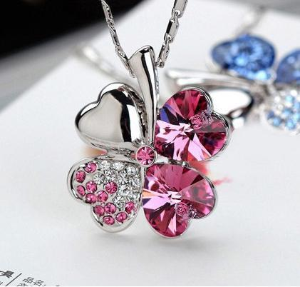 Fashion Charms Crystal Luck Four Leaves Pendants Necklaces For Women Jewellery