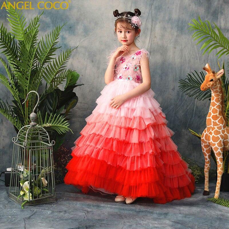 купить Fashion Flower Girl Dress Orange gradient feather Sequined Wedding Party Dress Princess Dresses Clothes Party Wear Robe Fille недорого