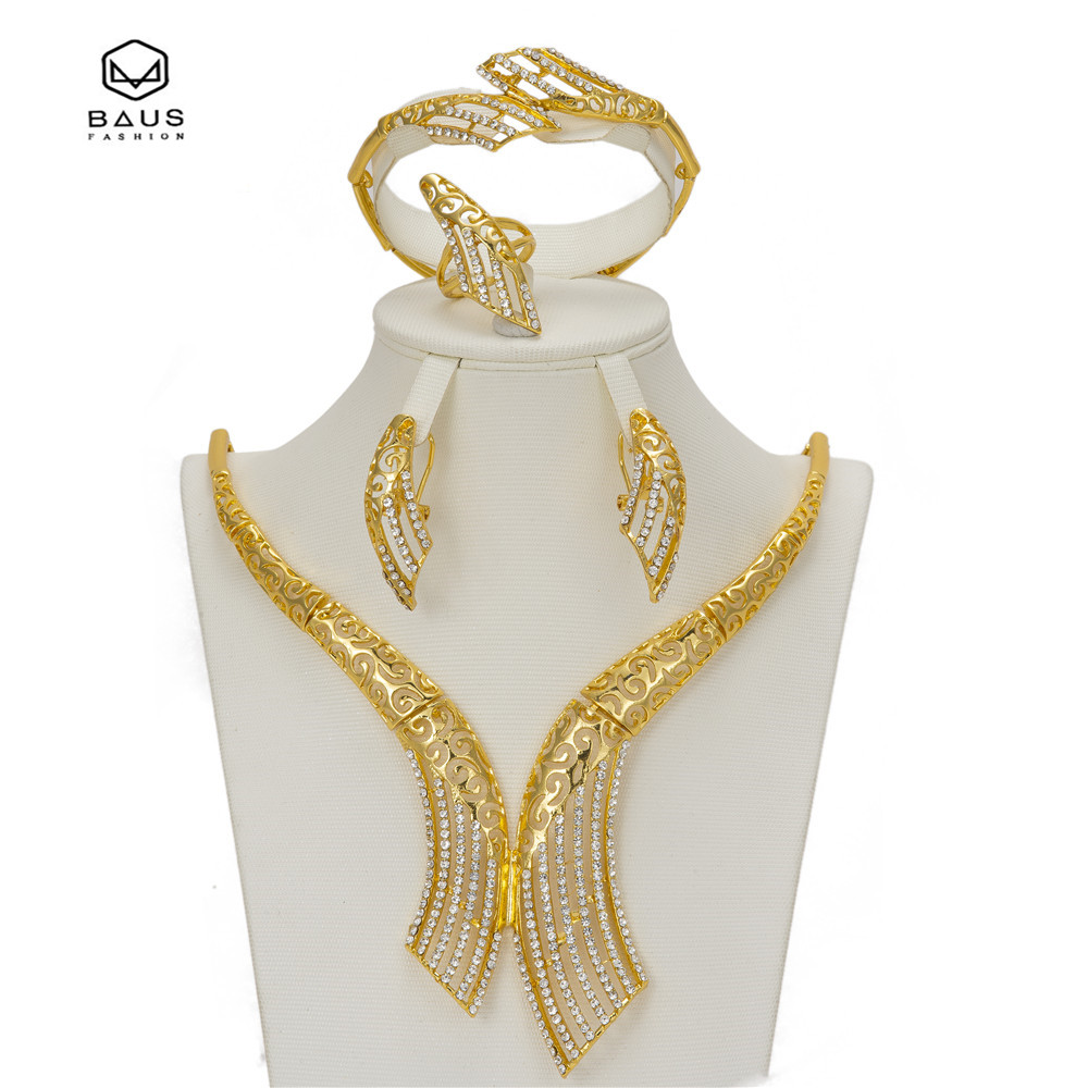 BAUS African Imitated Crystal Beads Jewelry Set Dubai Gold Color Women Wedding Necklace Bangle Earring Ring Party Accessories