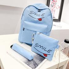 3 шт. холст рюкзак Письмо печати школьные сумки для девочек-подростков Плечо Сумка Через Плечо женские набор рюкзак Mochila Feminina