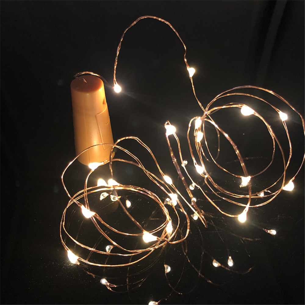 1M 2M LED Garland Copper Silver Wire String Lights 10 20 LEDs Bottle Stopper Fairy Lights For Holiday Wedding Party Decor